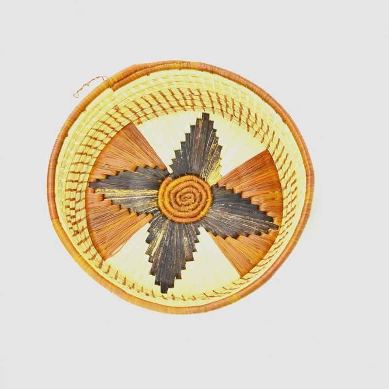 Uganda Handmade Banana Leaf/ Raffia Small Round Basket Tray