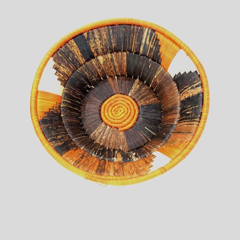 Uganda Handmade Banana Leaf/ Raffia Center Coil Basket