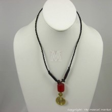 Bone Brass Amber Pendant Necklace