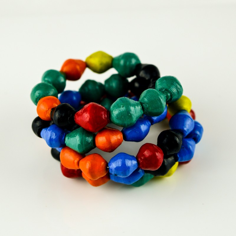 Recycled Paper Bead Coiled Multi Color Bracelet