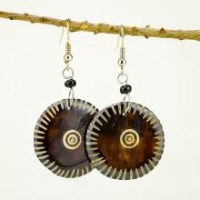 Round Brown Bone earrings