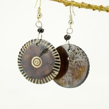 Round Brown Bone earrings