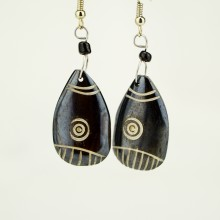 Tear drop Brown Bone earrings