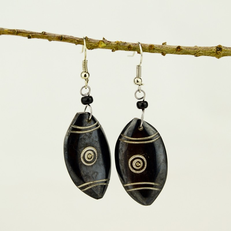 Maasai Shield Brown Bone earrings