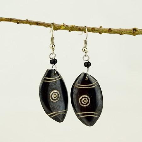 Maasai Shield Brown Bone earrings