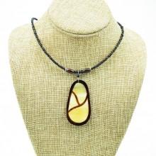 Oblong Cow Horn Leaf Pendant Necklace