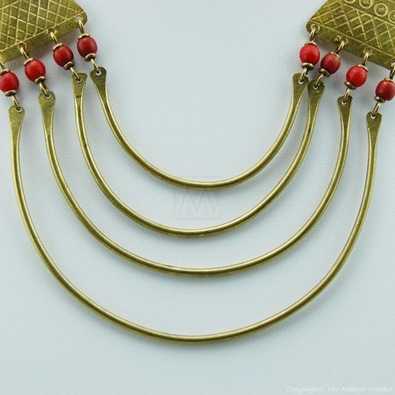 Maasai Trade Bead Brass Strand Necklace