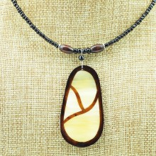 Oblong Cow Horn Leaf Pendant Necklace