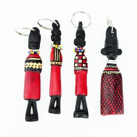Hand carved Wood Maasai Keychain