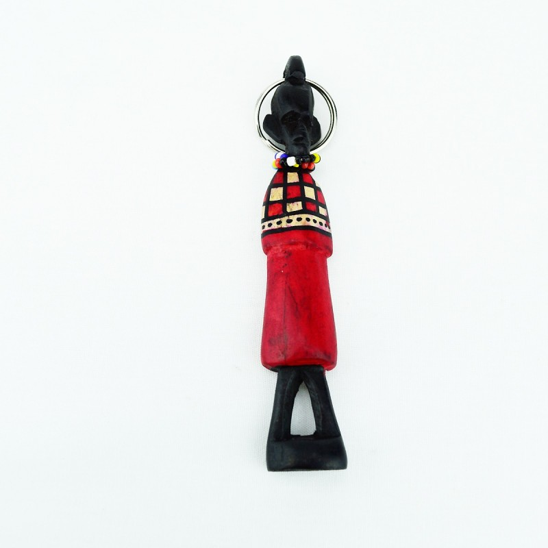 Hand carved Wood Maasai Keychain