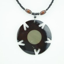 Round Cow Horn Pendant Necklace