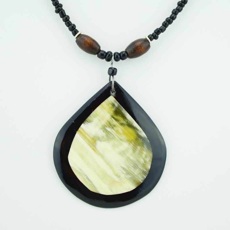 Cow Horn Tear Drop Pendant Necklace