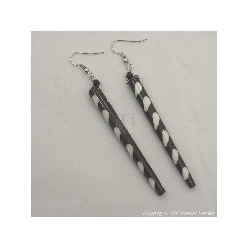 Long Batik Maasai Dangle Bone Earrings 623-54
