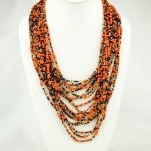 Orange Multi Color Strand Maasai Bead Necklace