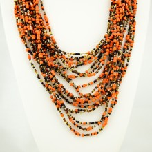 Orange Multi Color Strand Maasai Bead Necklace