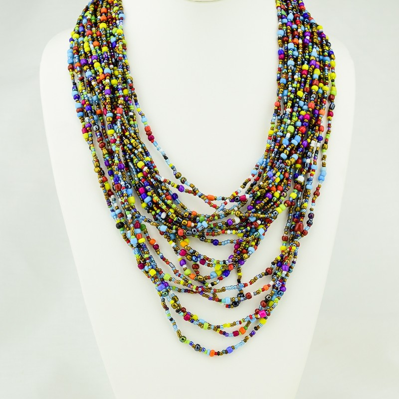 Nnaanansi Beaded Multistrand Necklace Bright Multicolor