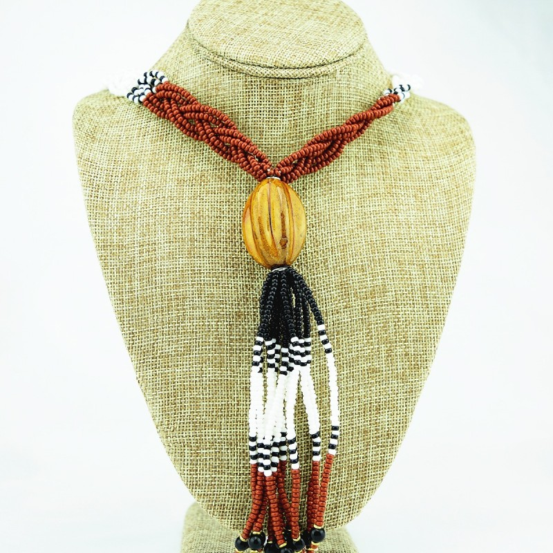 Multi Color Braided Maasai Bead Tassel Necklace