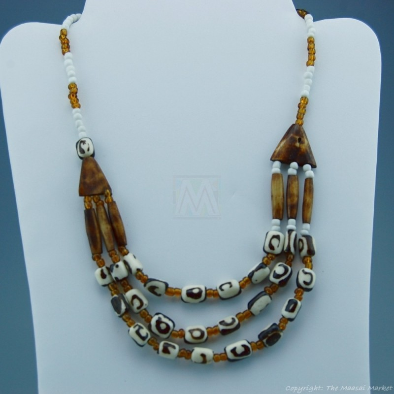 Batik Bone Trade Bead 3 Strand Necklace
