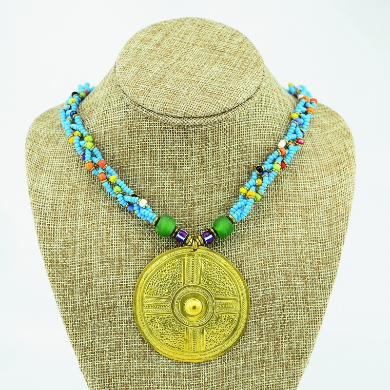Multi Color Braided Maasai Brass Pendant Necklace