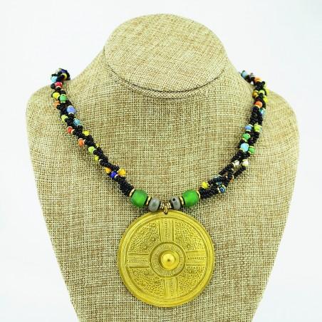Multi Color Braided Maasai Brass Pendant Necklace