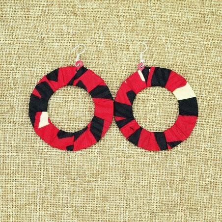 Large Round Kitenge Fabric Hoop Earrings