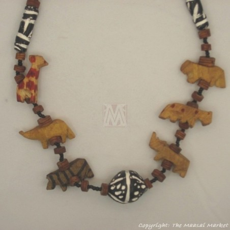 Wildlife Animals Safari Necklace Wood