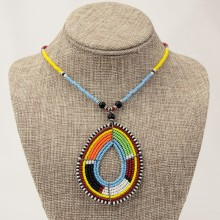 Maasai Multi Color Bead Tear Drop Pendant Necklace