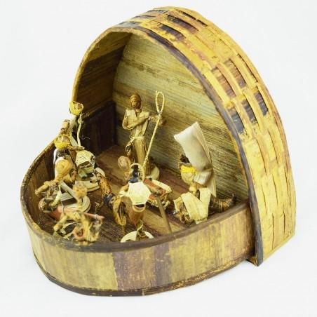 Handmade Arched Banana Fiber Nativity Scene