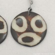 Three Ring Mudcloth Print Bone Earrings