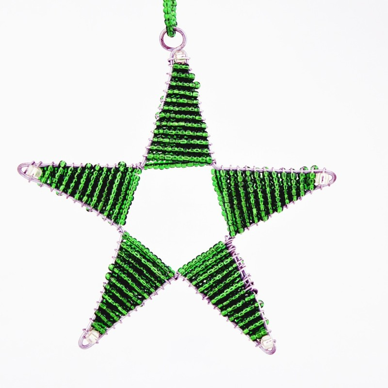 Maasai Bead Wire Christmas Star Ornament