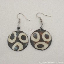 Three Ring Mudcloth Print Bone Earrings