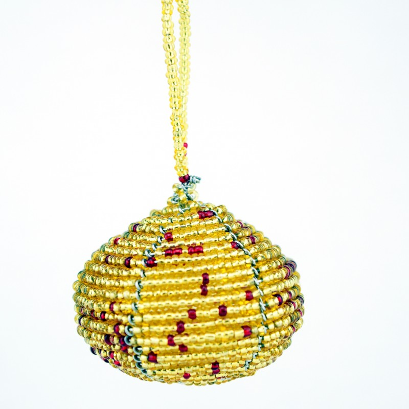 Gold Maasai Bead Christmas Ball Ornament