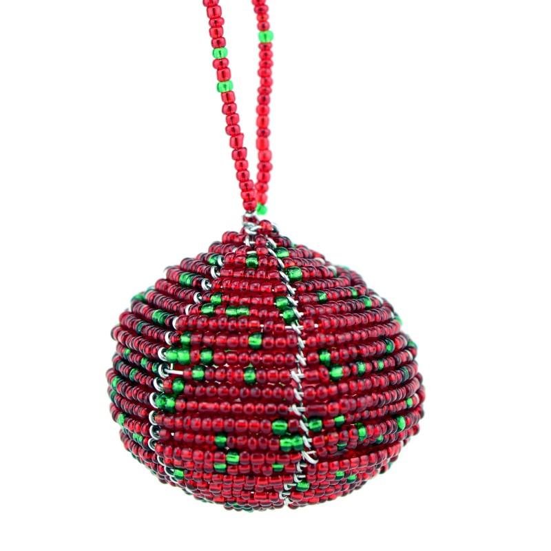 Red Maasai Bead Christmas Ball Ornament