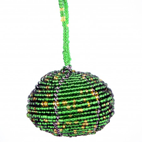 Green Maasai Bead Christmas Ball Ornament