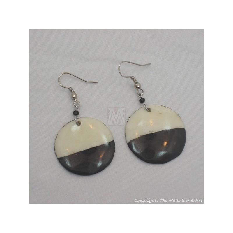 Cow Bone Half Moon Maasai Earrings 598-60