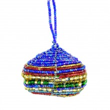 Multi Color Maasai Bead Christmas Ball Ornament