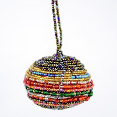 Multi color Maasai Bead Christmas Ball Ornament