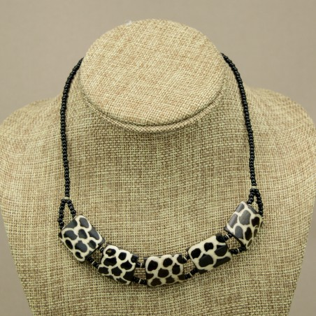 Giraffe Print Cow bone Choker Necklace