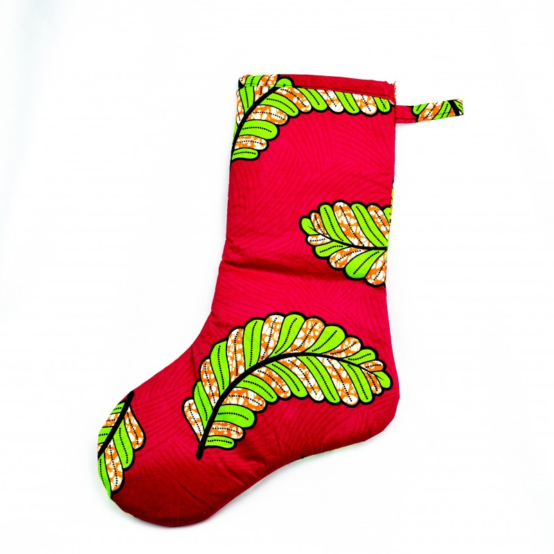 Large African Wax Print Fabric Christmas Stocking