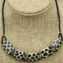 Giraffe Print Cow bone Choker Necklace