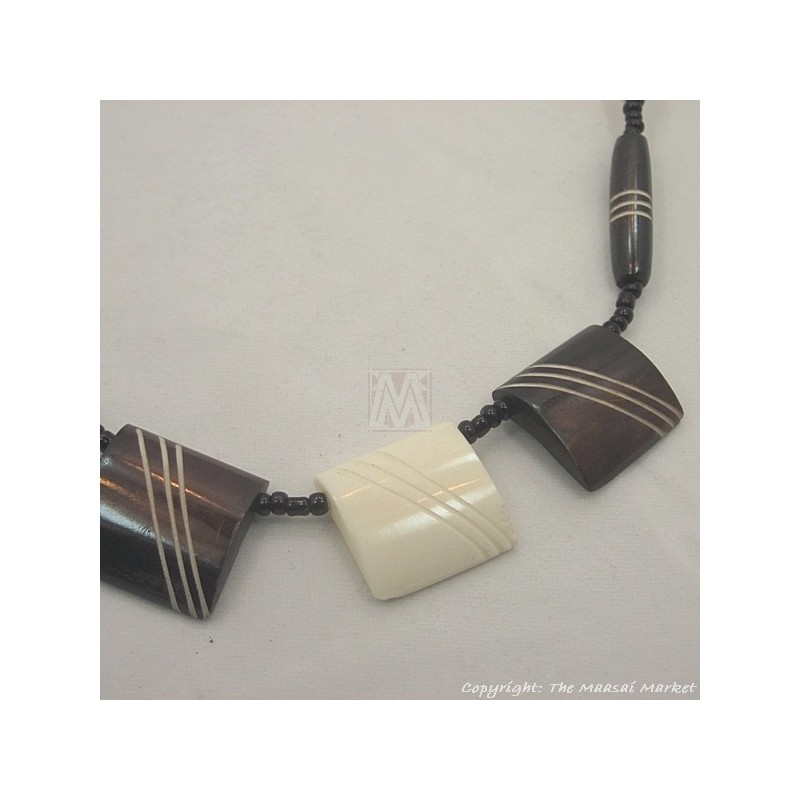 Brown/ White Cow bone Choker Necklace