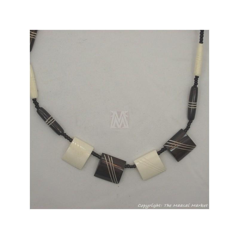 Brown/ White Cow bone Choker Necklace