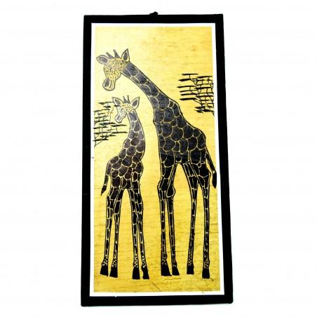 Mother and Baby Giraffe Banana Fiber Art
