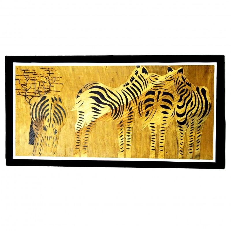 Zebras Banana Fiber Art