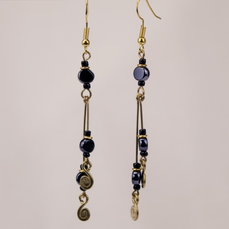 Brass Wire Double Rod and Coil Earrings