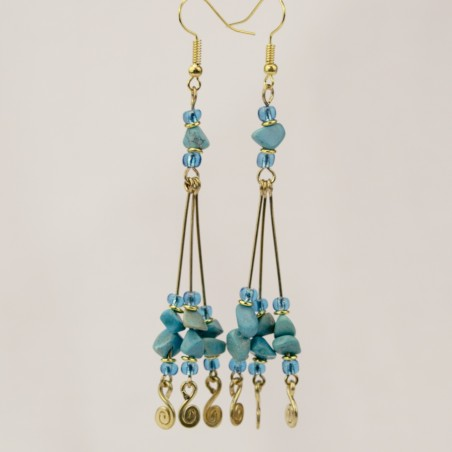 Brass Wire With Stones Earrings