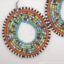 Large Maasai Multi-color Bead Round Earrings
