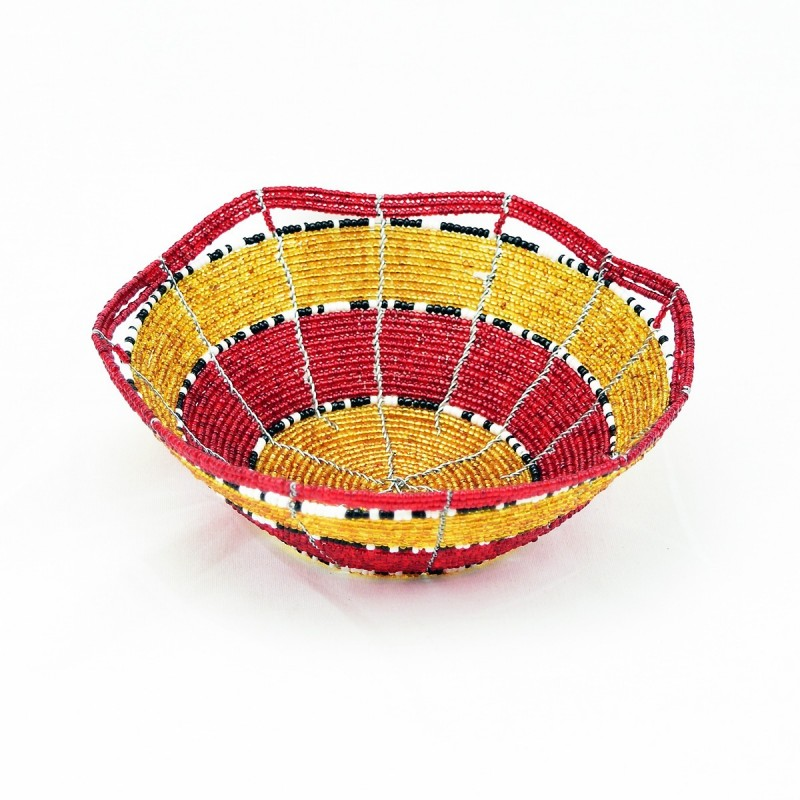 Small Maasai Bead Wire Bowl