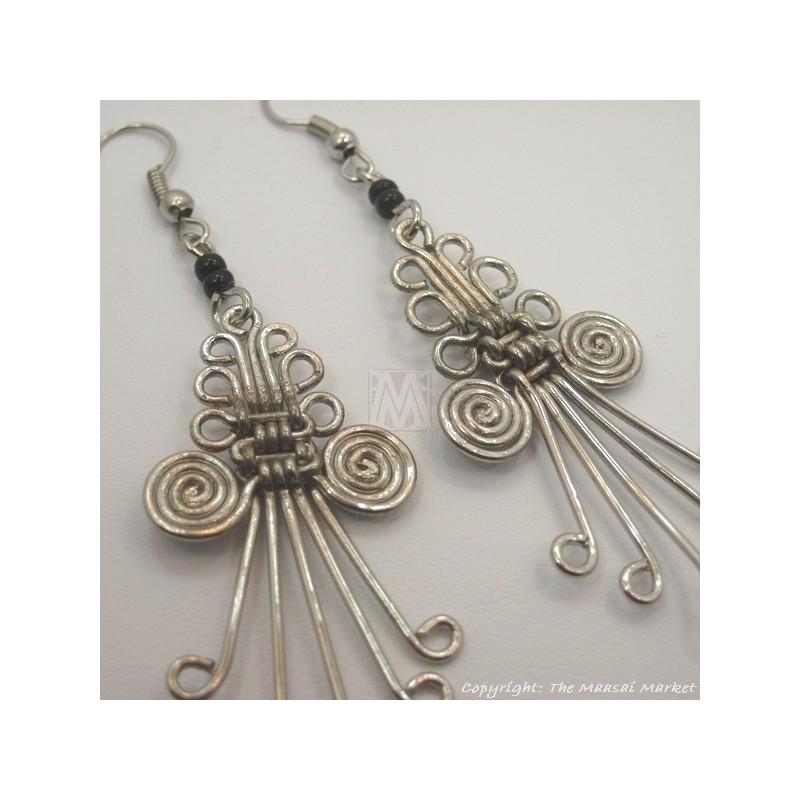 Silver Wire Maasai Bead Weave Earrings
