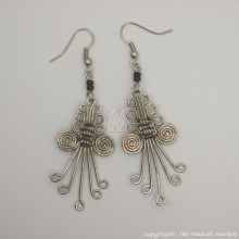 Silver Wire Maasai Bead Weave Earrings